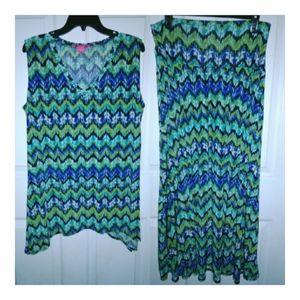 Sunny Leigh Chevron Sleeveless Shirt Skirt Set M